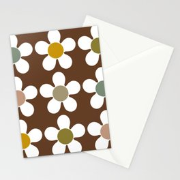 Spring Daisies on Soil Brown Stationery Cards