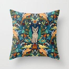 Peterbald cat damask midnight Throw Pillow