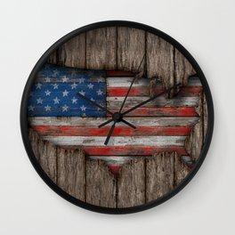 American Wood Flag Wall Clock