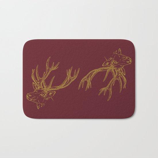 Deer Burgundy Gold Bath Mat