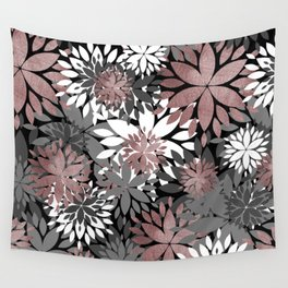 Pretty rose gold floral illustration pattern Wall Tapestry