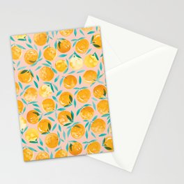 Winter Oranges | Peach Background Stationery Cards