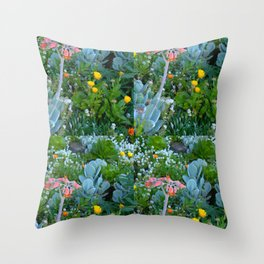 Succulents & Flowers Throw Pillow