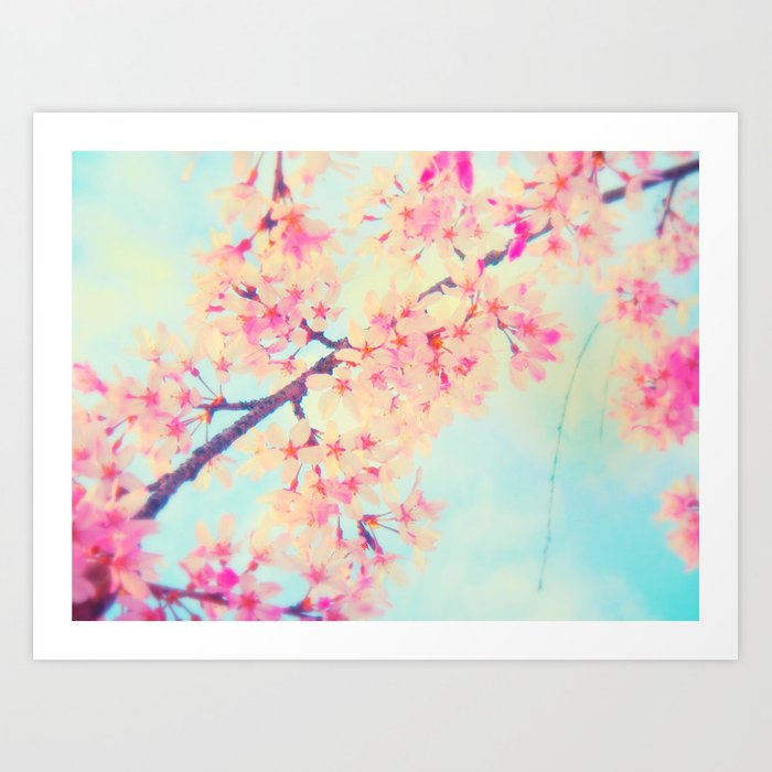 Cherry Blossom Pastel Room Decor Art Print