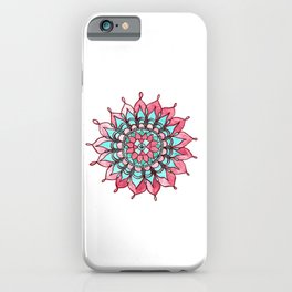 Pink and Turquoise Mandala Watercolor Painting iPhone Case