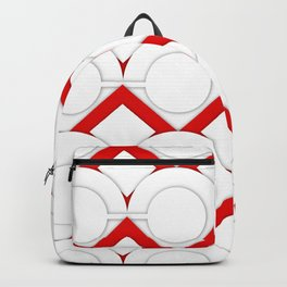 White Circles And Red Squares Abstract Geometric Pattern Backpack