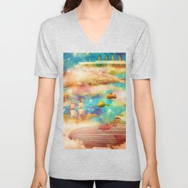 Vintage Travel World Sky Blue Ocean Whales Watercolor Unisex V-Neck