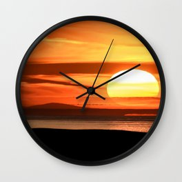 Isle of Anglesey View of Ireland Mountains Sunset Wall Clock