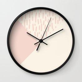 Modern geometrical ivory pink color block paint brushstrokes Wall Clock