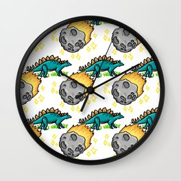 Dinosaur and Meteorite Pattern Wall Clock
