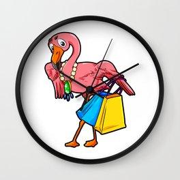 Shopping Flamingo Flamenco Shopaholic Gift Cartoon Wall Clock