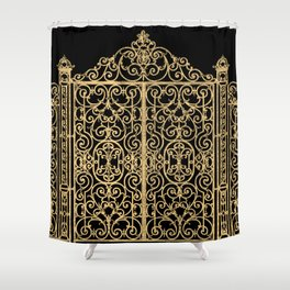 French Wrought Iron Gate | Louis XV Style | Ornate Ironwork | Black and Gold | Shower Curtain