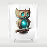 calvin Shower Curtains featuring Night Owl by Chump Magic