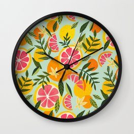 Grapefruit Blooms – Mint Palette Wall Clock