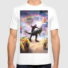 Space Sloth Riding Dinosaur Unicorn - Hotdog & Taco T-shirt