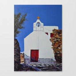 White church in Greece Canvas Print