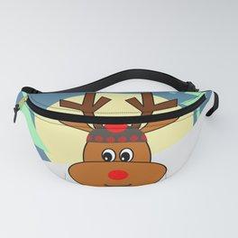 Reindeer in snow Fanny Pack