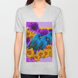 BLUE BIRDS SUNFLOWERS PURPLE FLORA ART Unisex V-Neck