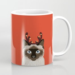 Siamese Cat Reindeer Costume funny cat art for cat lady gift for the holidays cats christmas outfit Coffee Mug