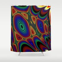 quilt Shower Curtains featuring Fractal Quilt by Harvey Warwick
