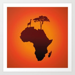 African Safari Map Silhouette Background Art Print