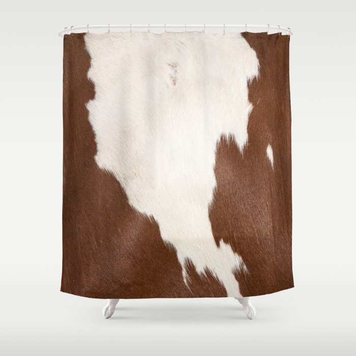 Brown Cowhide v4 Shower Curtain