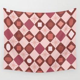 Mid Century Modern Rosewood Diamonds Wall Tapestry