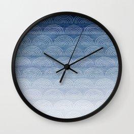 Blue Ombre Shibori Style Pattern, Indigo, Rainbow Pattern, Blue Sky Wall Clock