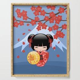 Japanese Red Sakura Kokeshi Doll on Blue Serving Tray