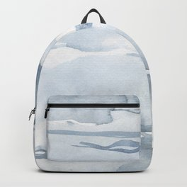 Pastel blue gray abstract watercolor brushstrokes stripes pattern Backpack