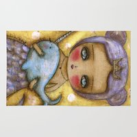 narwhal Area & Throw Rugs featuring Narwhal Love by Danita Art