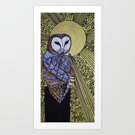 Barn Owl Art Nouveau Panel in yellow Art Print