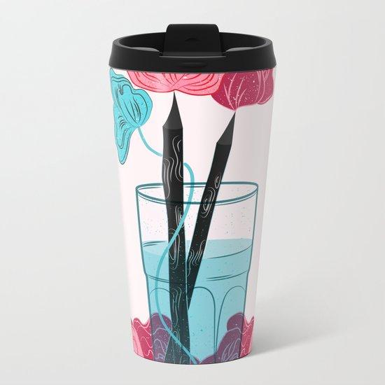Pencil Roses Metal Travel Mug