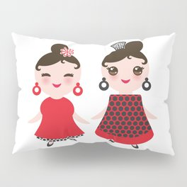 Spanish Woman flamenco dancer. Kawaii cute face with pink cheeks and winking eyes. Gipsy girl Pillow Sham