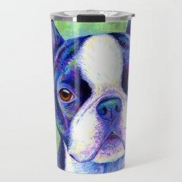 Colorful Boston Terrier Dog Travel Mug