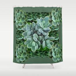 ARTISTIC GRAY-GREEN SUCCULENT ART Shower Curtain