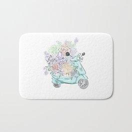 flowers and scooter. Flowers art Flower Art Print. Bath Mat