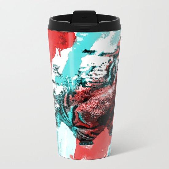 Tiger blue red 4 Metal Travel Mug