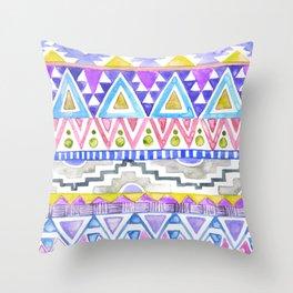 Watercolor Aztec Pattern violet Throw Pillow