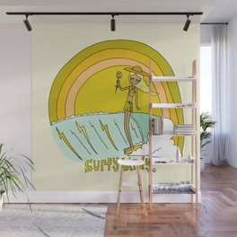 surfy birdy surf rainbows tee retro surf art good vibes Wall Mural