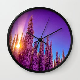winter mountain sky forest gradient 0276 Wall Clock