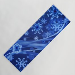 Blue Snowflakes Winter Yoga Mat