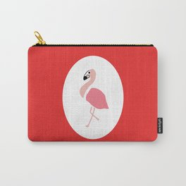 Polly the Pink Flamingo - Red Carry-All Pouch