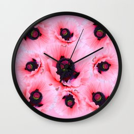 PINK POPPIES COLLAGE Wall Clock