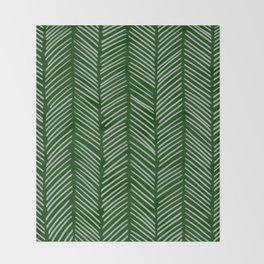 Forest Green Herringbone Throw Blanket
