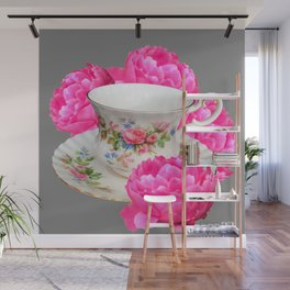 FLORAL TEA CUP & PEONY FLOWERS YELLOW ART Wall Mural