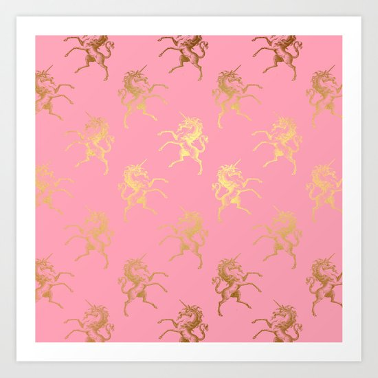 Gold elegant Unicorns on pink pattern Art Print