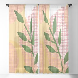 Watercolor Leaf Abstraction Orange and Pink Sheer Curtain