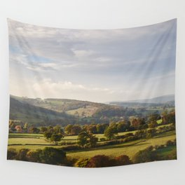 Sunset over trees in the valley. Derbyshire, UK. Wall Tapestry