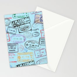 Worldly Traveler - Passport Pattern - Light Blue Stationery Cards